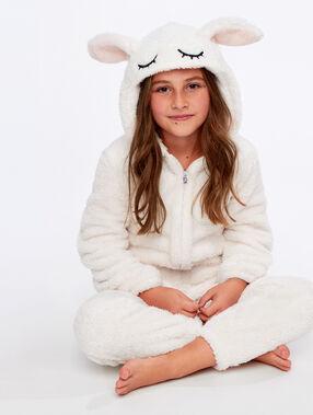 Combinaison pyjama lapin enfant ecru.