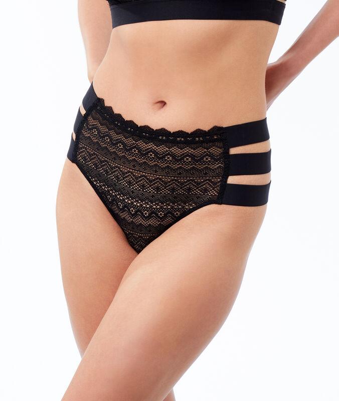 Panty mit hoher taille und spitze, 3 bänder schwarz.