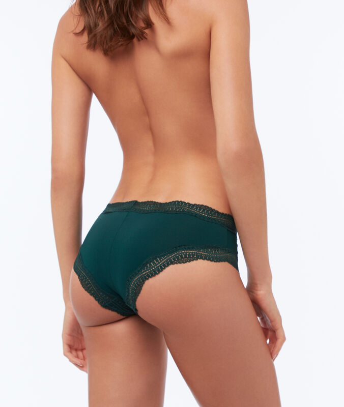 Shorty mit saum aus grafischer spitze tannengrün.