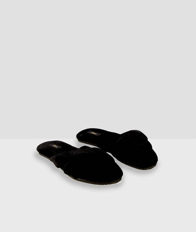 Flipflop-hausschuhe aus baumwolle schwarz.