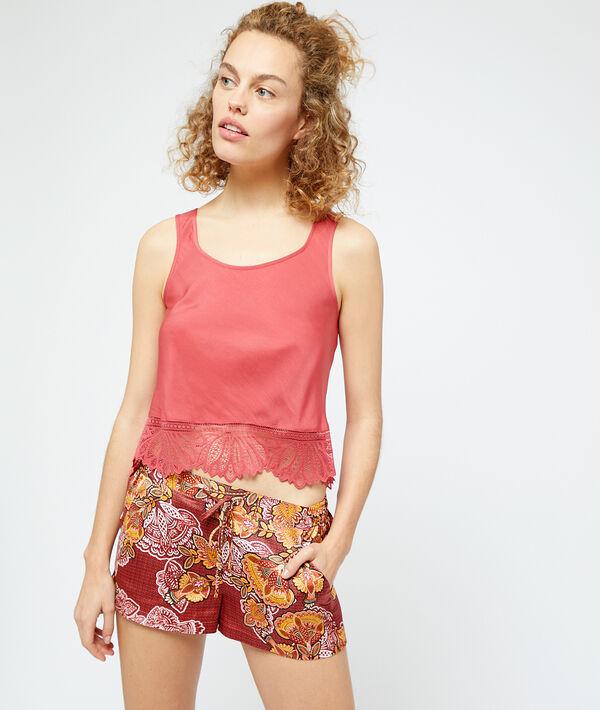 Seidig schimmernde Shorts mit Print;${refinementColor}