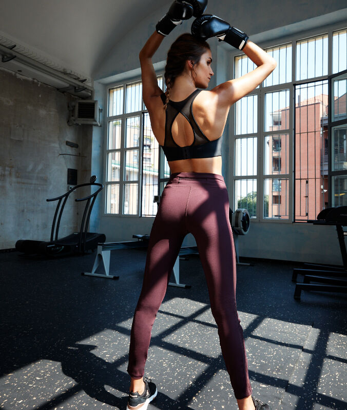 Elastische leggings, seitliches muster cassis.