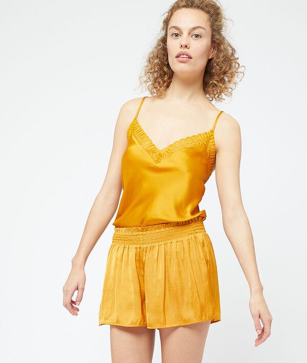 Seidig schimmernde, plissierte Shorts, in der Taille gesmokt;${refinementColor}