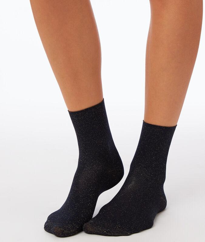 Socken mit metallic-faden nachtblau.