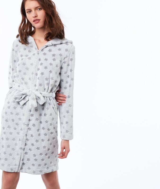 Hauskleid mit print und kunstpelz mit kapuze grau.