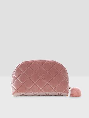 Kulturbeutel mit pompon rosa.