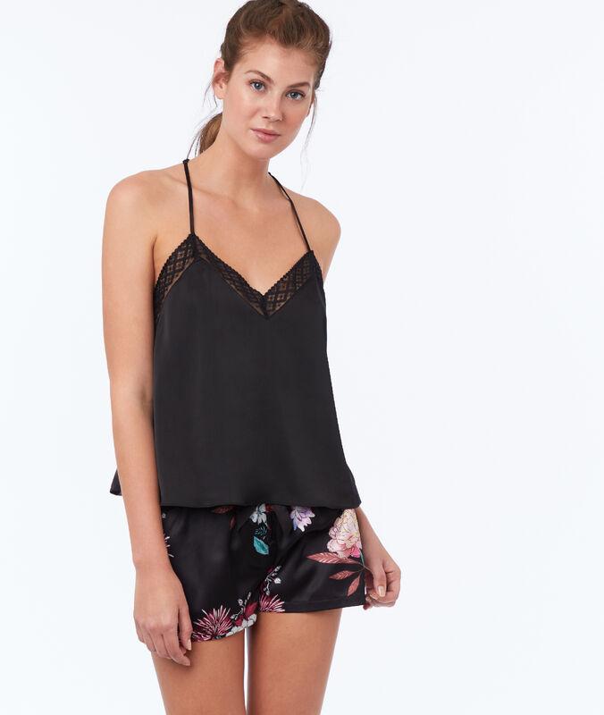 Shorts aus satin mit print schwarz.