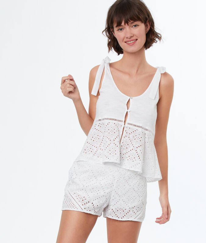 English embroidery pyjama shorts weiß.
