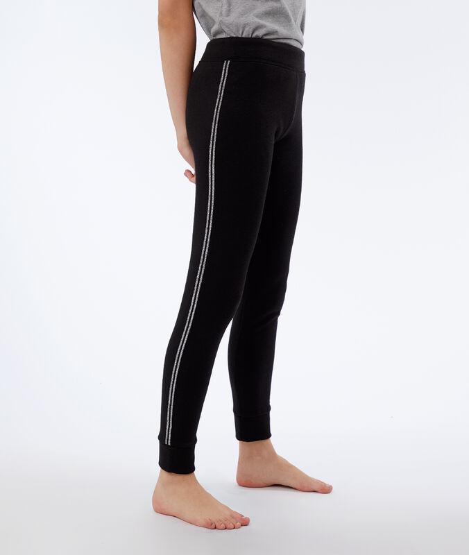 Hose mit metallic-bändern schwarz.