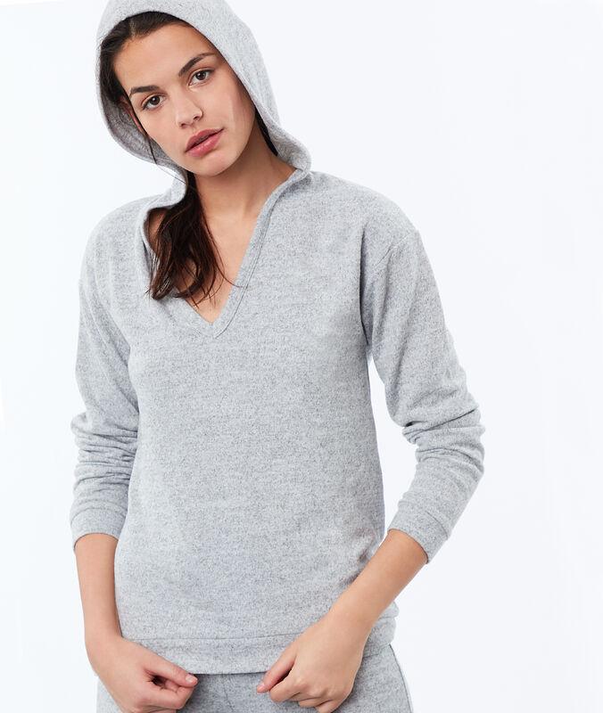 Homewear – meliertes sweatshirt grau.