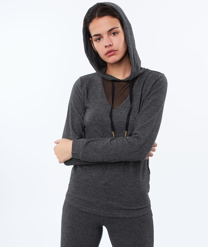 Homewear-top mit netzgewebe am ausschnitt grau.