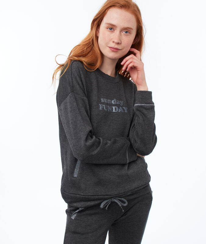 Sweatshirt mit statement grau.