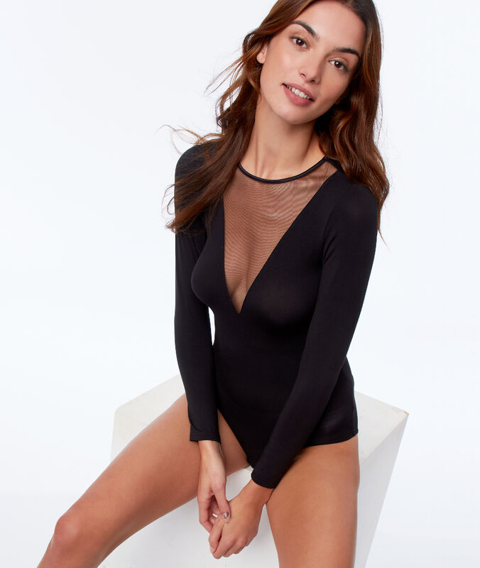 Body mit langen ärmeln und transparentem ausschnitt schwarz.