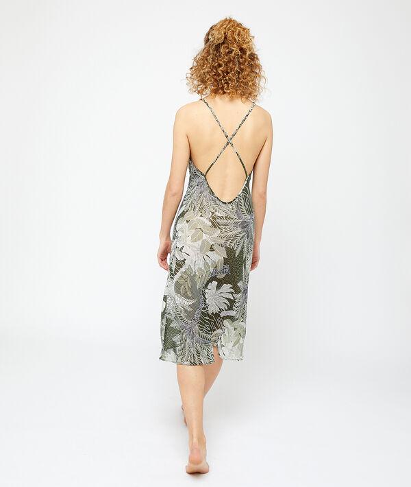 Langes Nachthemd mit Print, gekreuzter Rücken mit tiefem Ausschnitt;${refinementColor}