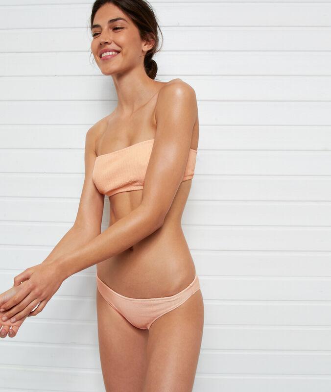 Einfaches bikiniunterteil, strukturiert koralle.