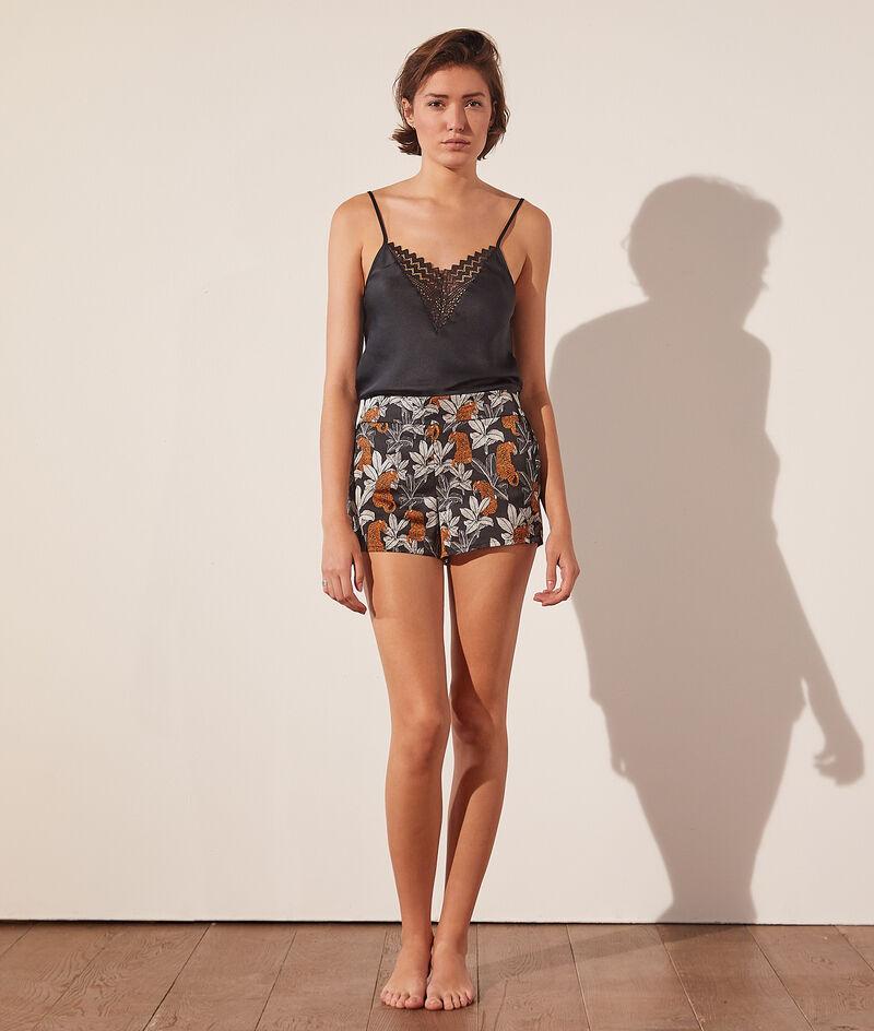 Seidig schimmernde Pyjama-Shorts mit Print;${refinementColor}