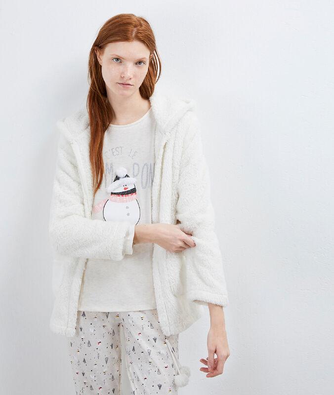 Pyjama 3 pièces imprimé bonhomme de neige beige.