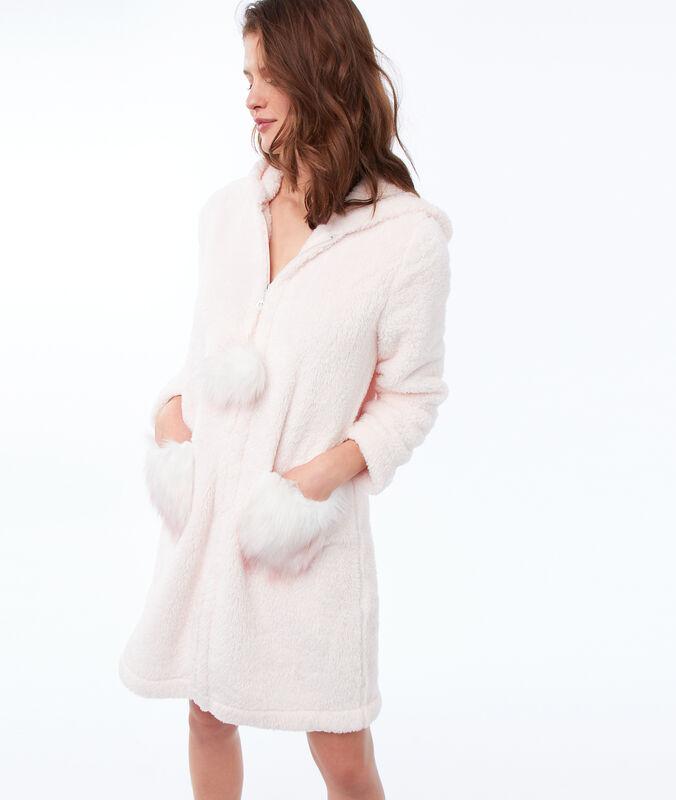 Hauskleid aus kunstpelz mit kapuze blassrosa.