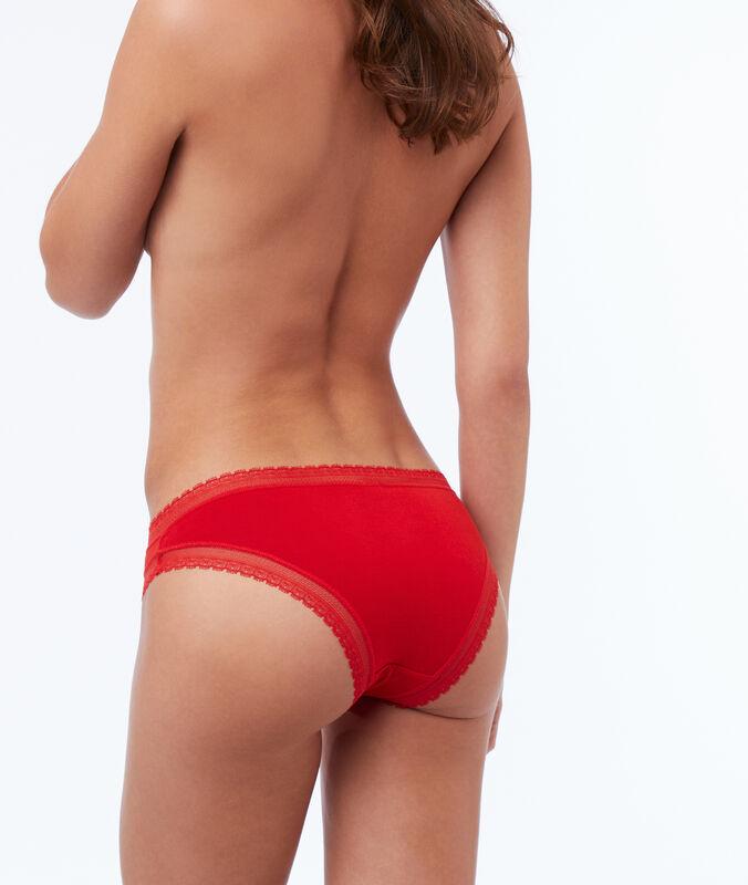 Weiche panty aus modal mit spitzensaum zinnoberrot.