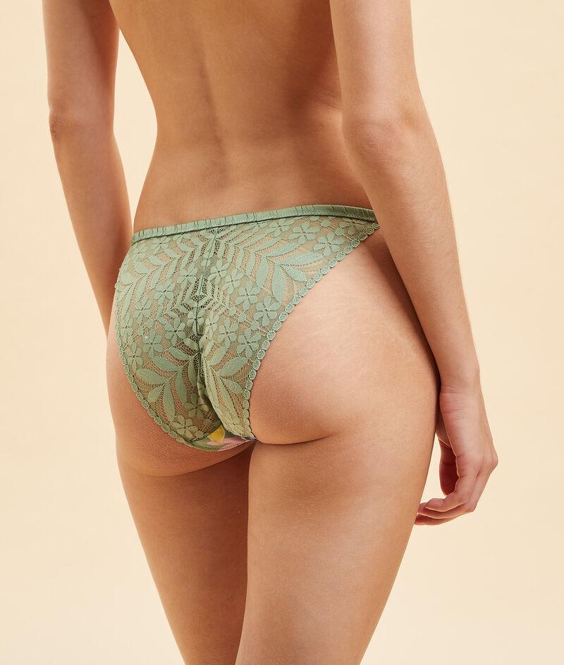 Bikiniunterteil mit Print und Rücken aus Spitze;${refinementColor}