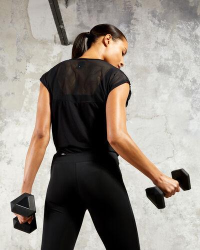 Sport-t-shirt, materialmix schwarz.