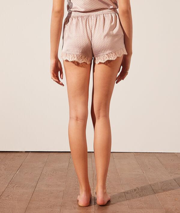 Pyjama-Shorts mit Print und Spitzensäumen;${refinementColor}