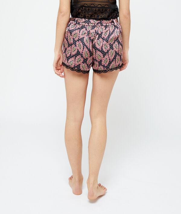 Seidig schimmernde Shorts mit Blätter-Print;${refinementColor}