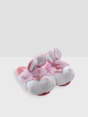 Pantoffeln mit 3d-häschen rosa.