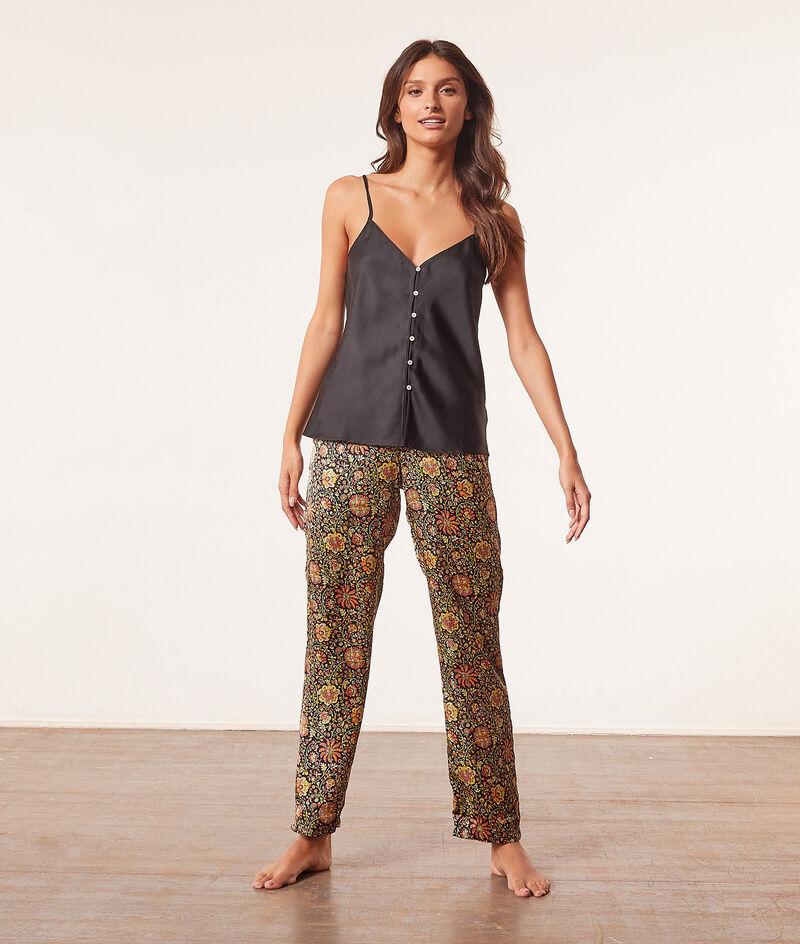 Seidig schimmernde Pyjamahose mit hoher Taille;${refinementColor}