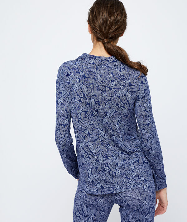 Pyjamaoberteil mit Blätter-Print;${refinementColor}
