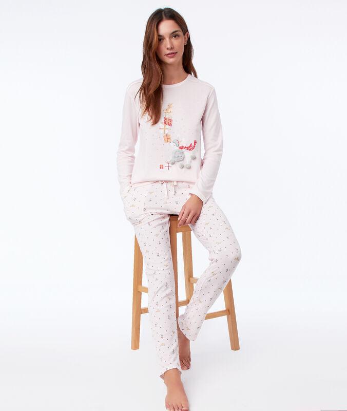 Pantalon de pyjama à motifs rose.