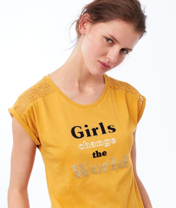 T-shirt mit statement gelb.