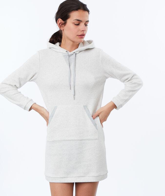Homewear-sweatshirt-kleid aus molton ecru.