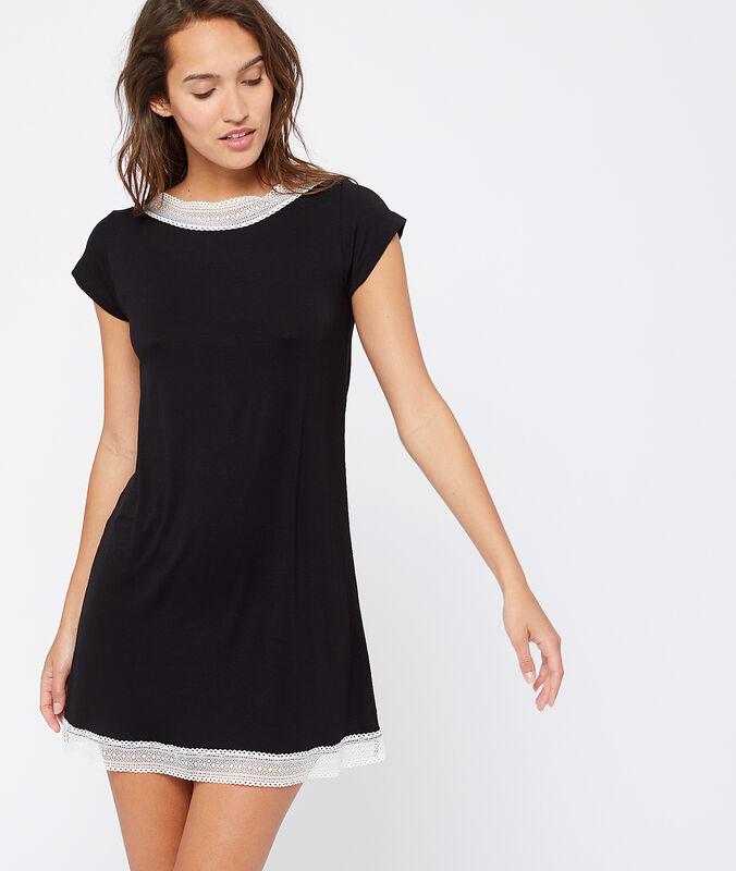 Nachthemd mit spitzensaum schwarz.