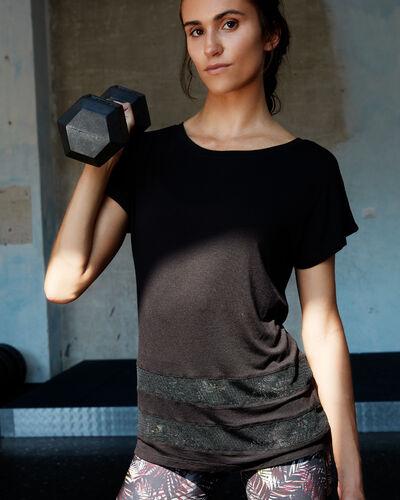 T-shirt mit netzeinsatz schwarz.