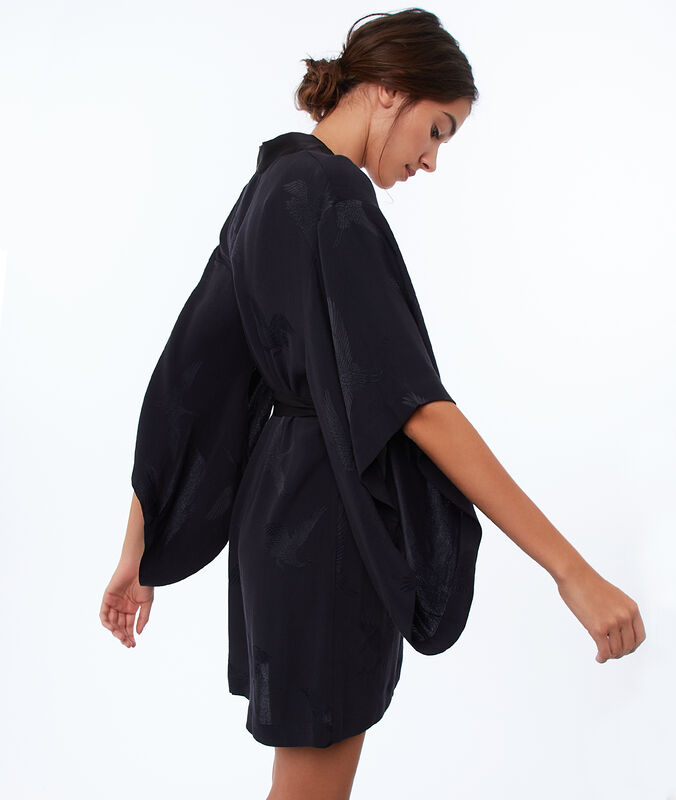 Nachthemd aus jacquard-satin schwarz.