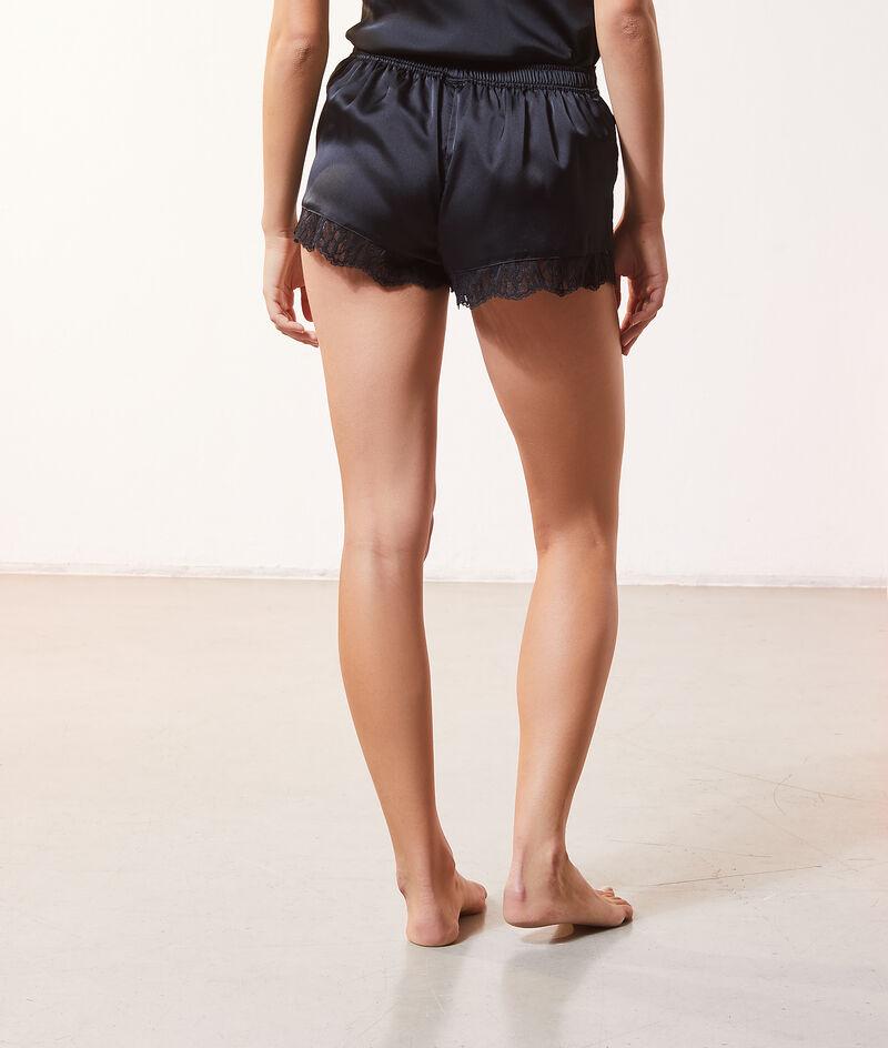 Seidig schimmernde Shorts mit Details aus Spitze;${refinementColor}
