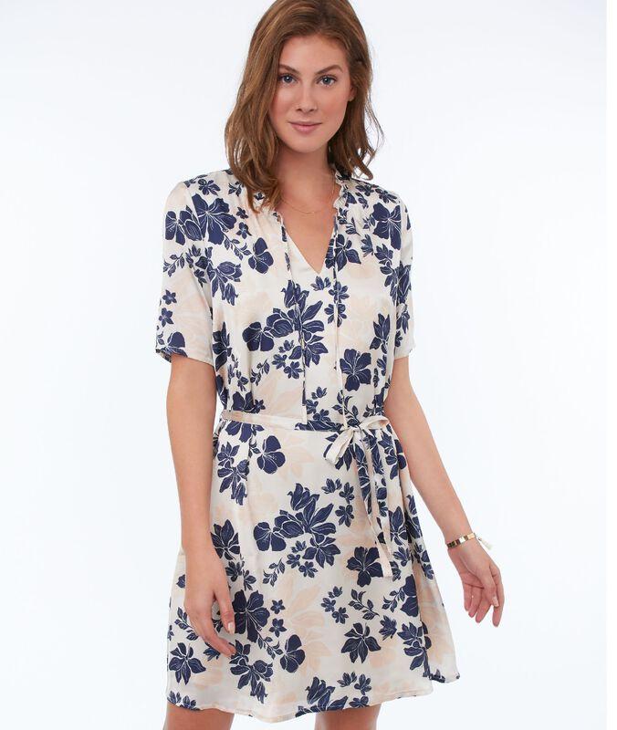 Kleid mit 3/4-ärmeln mit floralem print nude.
