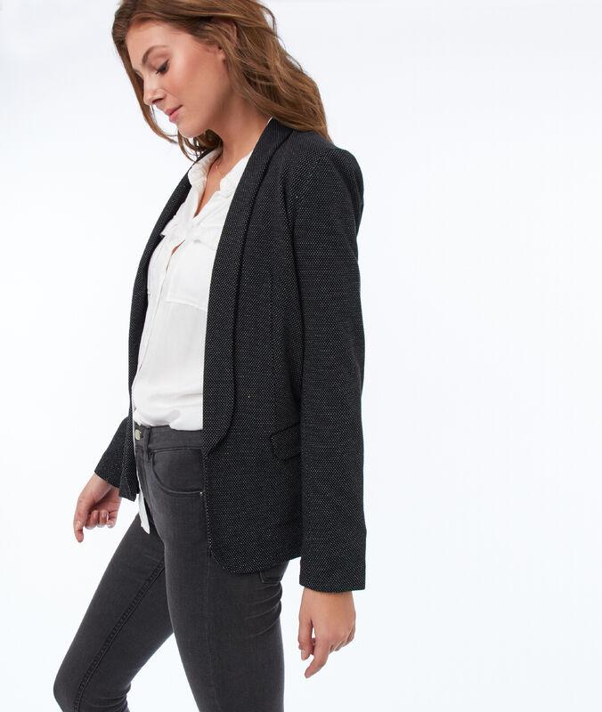 Taillierte jacke mit schalkragen schwarz.