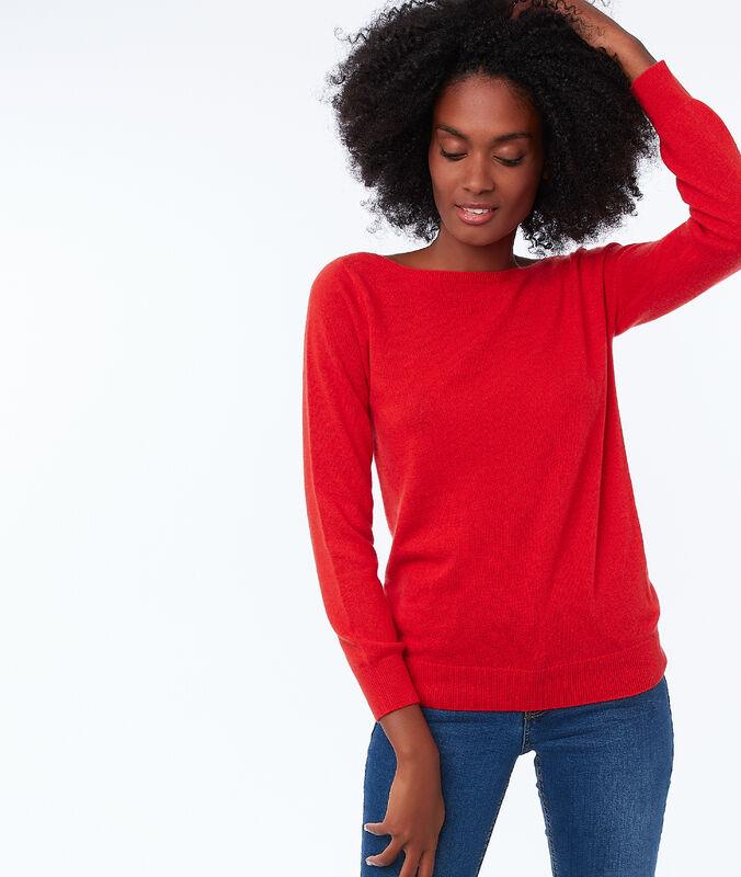 Pullover mit u-boot-ausschnitt, 100 % kaschmir mohnblume.
