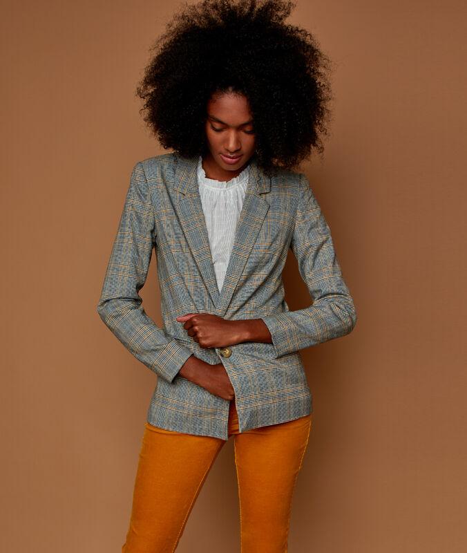 Taillierte jacke mit karos grau.