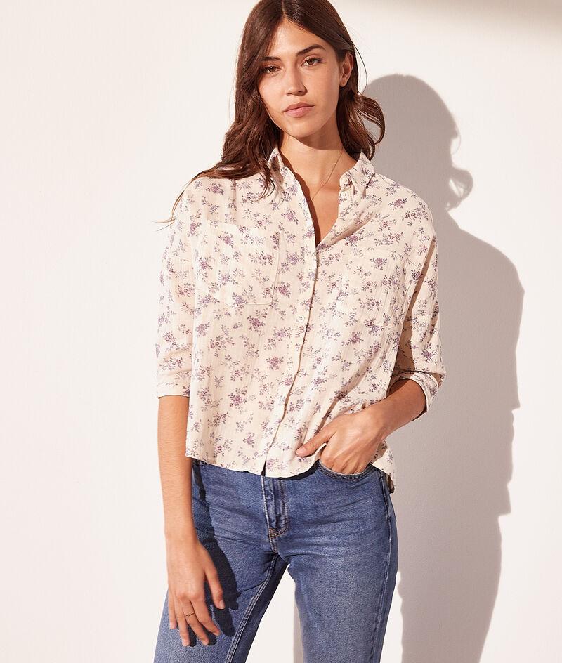 Hemd mit Print aus Baumwollgaze