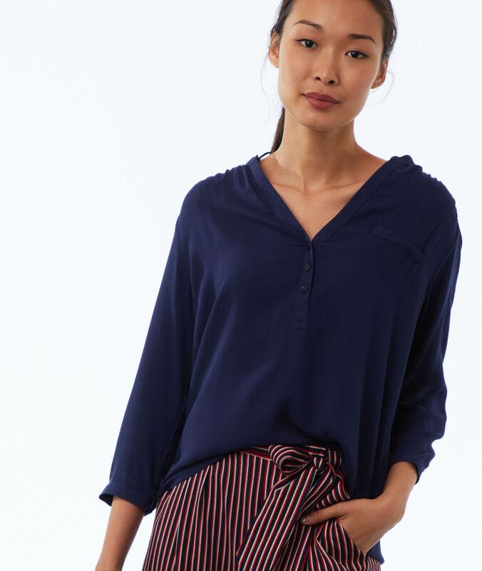 Bluse mit tunesischem kragen marineblau.