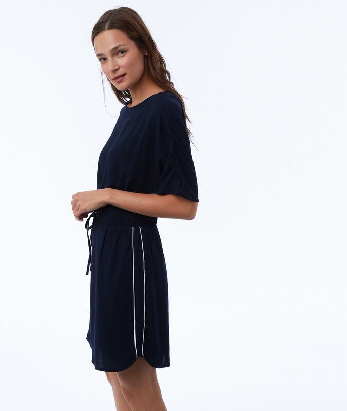 Kleid mit seitlichen bändern marineblau.