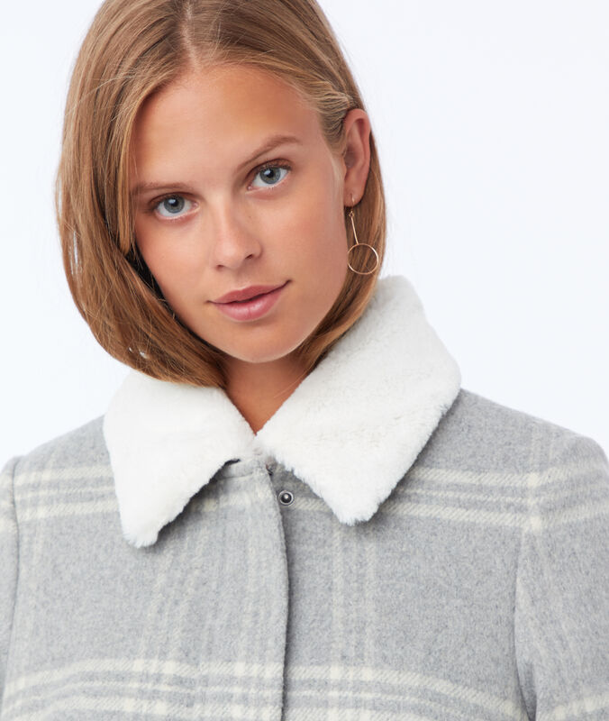 Mantel mit karos und struktureffekt hellgrau meliert.