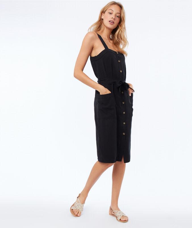 Kleid, vorne geknöpft, aus tencel® schwarz.