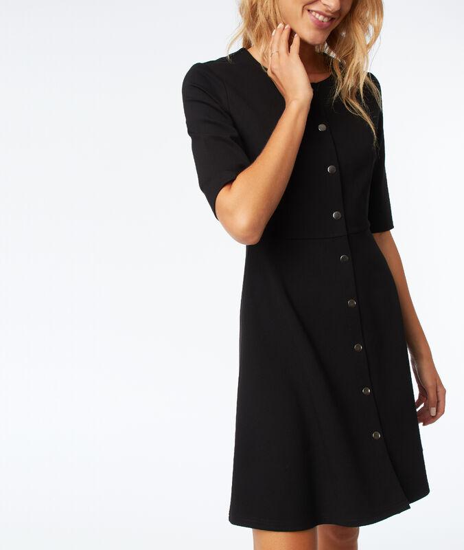 Ausgestelltes kleid mit knöpfen schwarz.