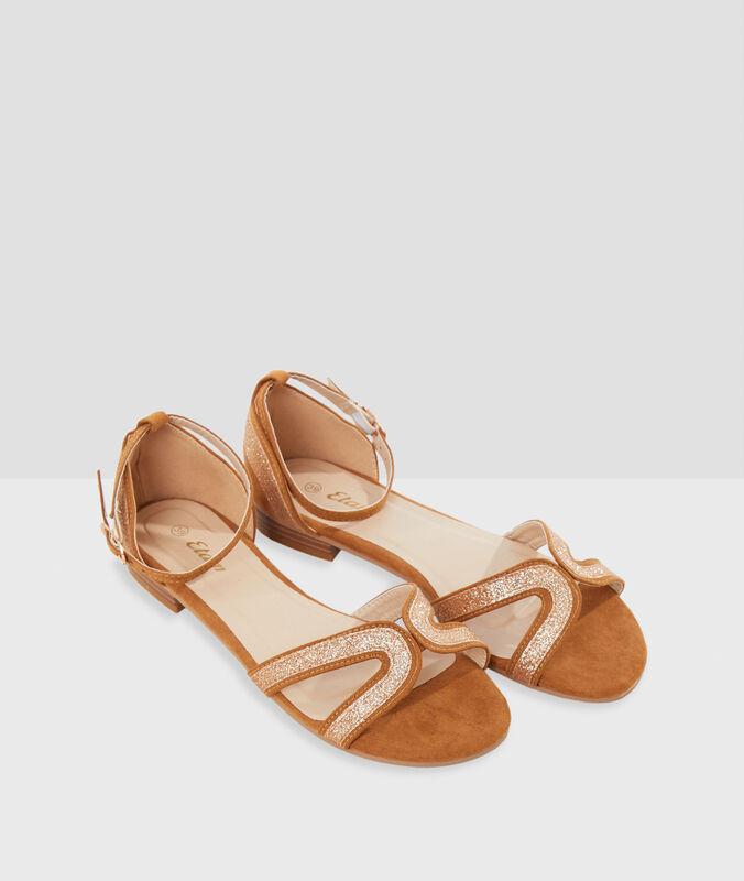 Sandalen mit pailletten safrangelb.