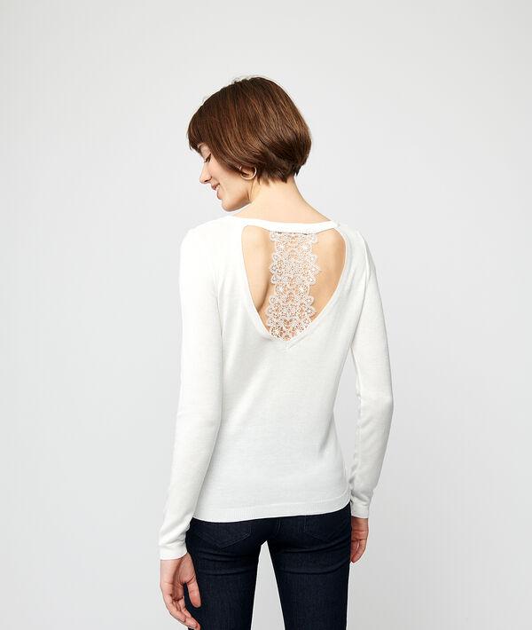Pullover aus feinem Strick, Rücken aus Guipure-Spitze