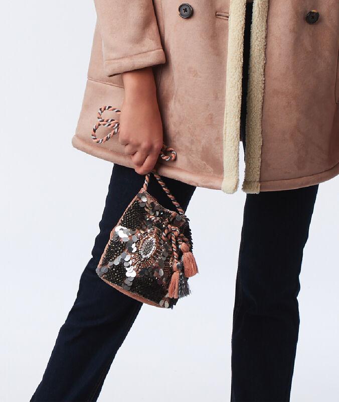 Petit sac bourse à perles or rose.
